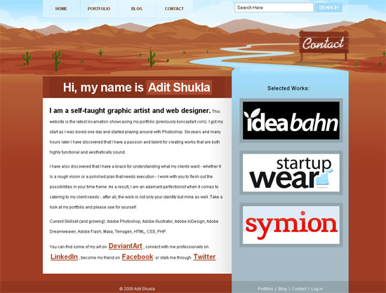 Portfolio of Adit Shukla - screen shot.