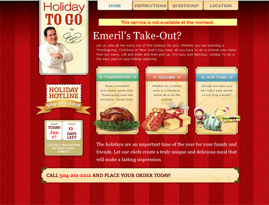 Emeril's Holiday to Go - screen shot.