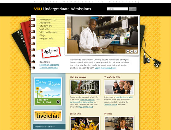 VCU Office of Undergraduate Admissions - screen shot.