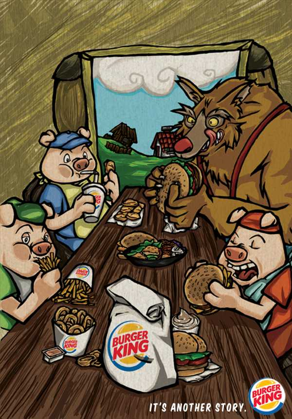 Печатная реклама, Burger King Three Pigs, MIAMI AD SCHOOL, BURGER KING