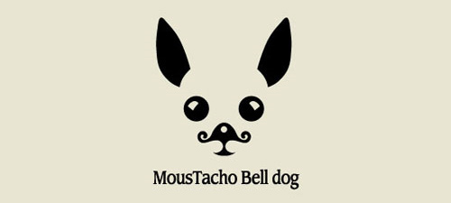 moustacho bell dog animal logo design