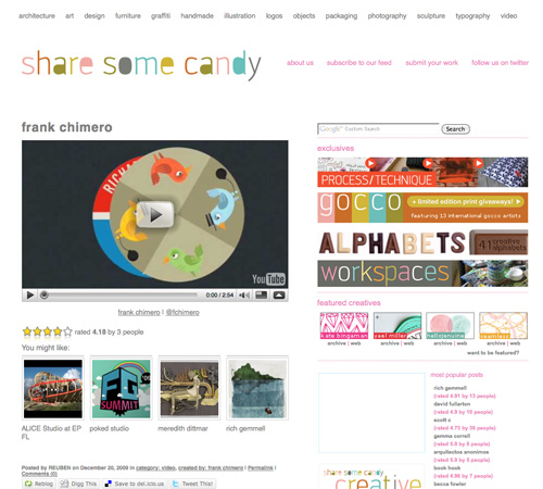 sharesomecandy 11 Most Popular Blog Design Styles (With Examples)