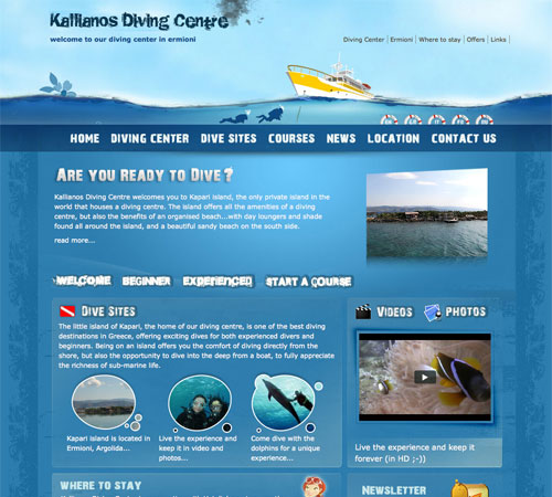 kallianosdivingcentre 11 Most Popular Blog Design Styles (With Examples)