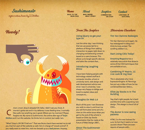 sushimonstr 11 Most Popular Blog Design Styles (With Examples)