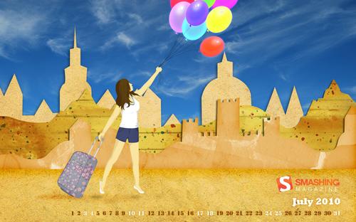 Time-for-a-travel in Desktop Wallpaper Calendar: July 2010