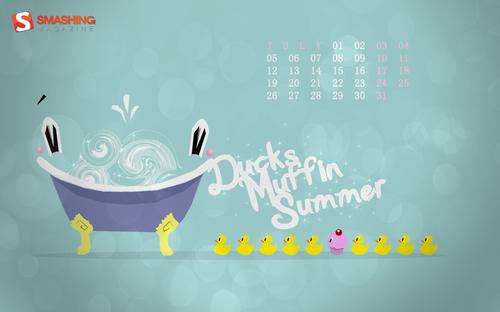 Ducks-muffin-summer in Desktop Wallpaper Calendar: July 2010