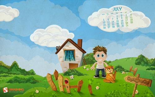 In-the-village in Desktop Wallpaper Calendar: July 2010