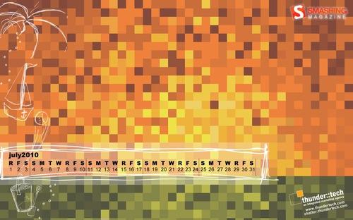 A-digital-sunset in Desktop Wallpaper Calendar: July 2010
