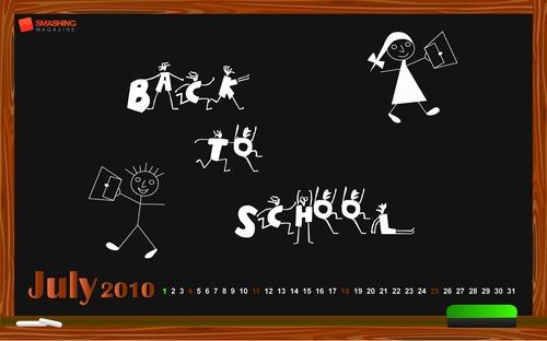 Back-to-school in Desktop Wallpaper Calendar: July 2010
