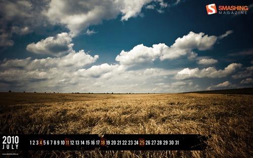 Summer-fields in Desktop Wallpaper Calendar: July 2010