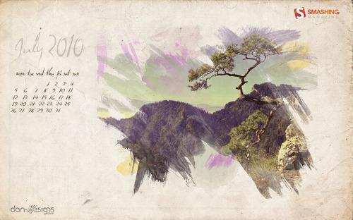 Pine-tree in Desktop Wallpaper Calendar: July 2010