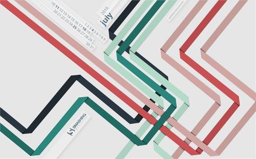 Ribbons in Desktop Wallpaper Calendar: July 2010