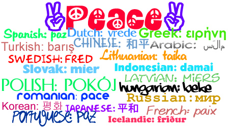 PEACE in 21 different languages by guitarhippie29.