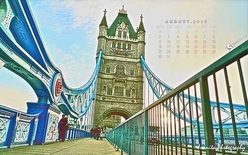 London-tower-bridge in  Desktop Wallpaper Calendar: August 2010