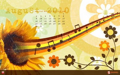 Singingsunflower in  Desktop Wallpaper Calendar: August 2010