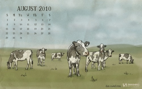 Cows in  Desktop Wallpaper Calendar: August 2010