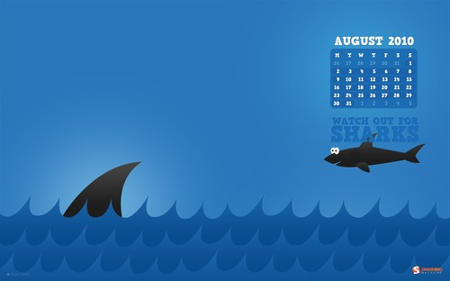 Watch-out-for-sharks in  Desktop Wallpaper Calendar: August 2010