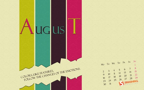 Color-emotions in  Desktop Wallpaper Calendar: August 2010