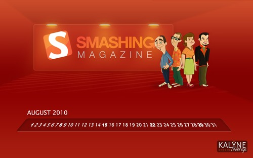 Smashing-team in  Desktop Wallpaper Calendar: August 2010