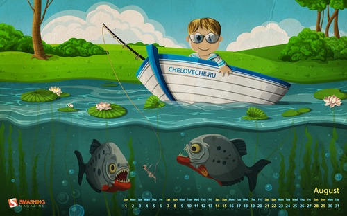 Piranha-fishing in  Desktop Wallpaper Calendar: August 2010