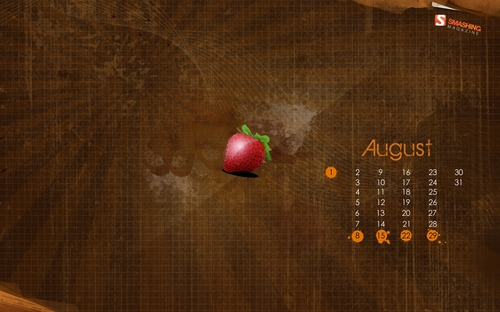 Strawberry in  Desktop Wallpaper Calendar: August 2010