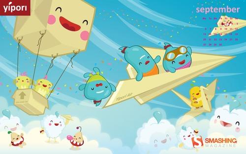 Flight in Desktop Wallpaper Calendar: September 2010