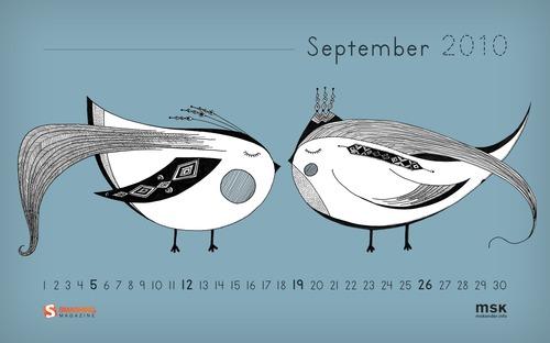Love Birds in Desktop Wallpaper Calendar: September 2010
