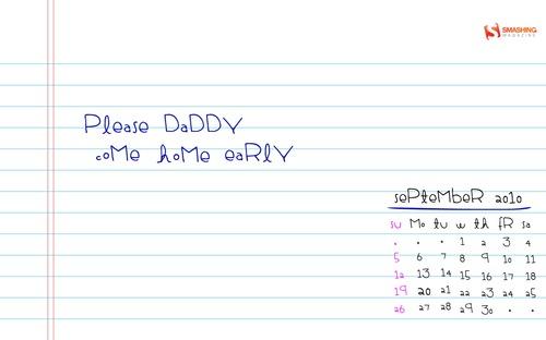 Note4dad in Desktop Wallpaper Calendar: September 2010