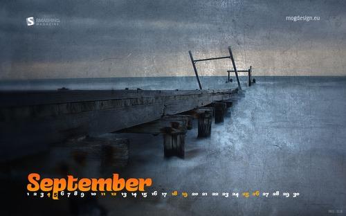 Bridge-reflections in Desktop Wallpaper Calendar: September 2010