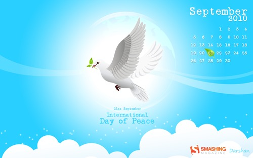 Day-of-peace in Desktop Wallpaper Calendar: September 2010