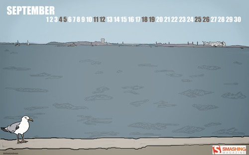 Seagull-days in Desktop Wallpaper Calendar: September 2010