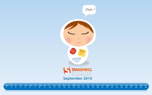 Zzzz in Desktop Wallpaper Calendar: September 2010
