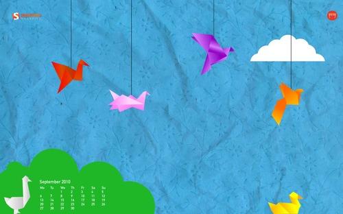 Spring-origami in Desktop Wallpaper Calendar: September 2010