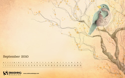 Blue-fall in Desktop Wallpaper Calendar: September 2010