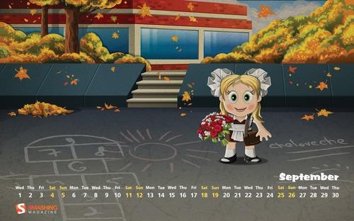 Gold-autumn in Desktop Wallpaper Calendar: September 2010