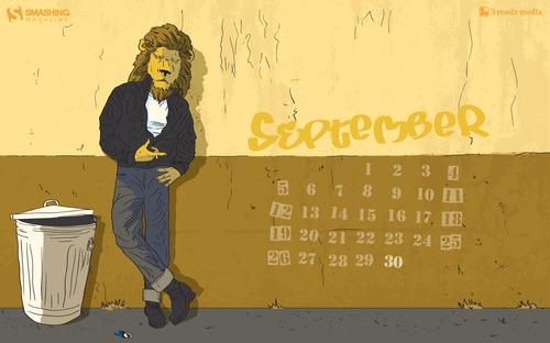 Cool Cat in Desktop Wallpaper Calendar: September 2010
