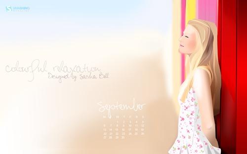 Colourful-relaxation in Desktop Wallpaper Calendar: September 2010