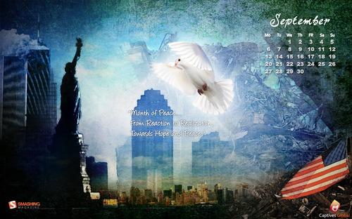 Memorial-tribute in Desktop Wallpaper Calendar: September 2010