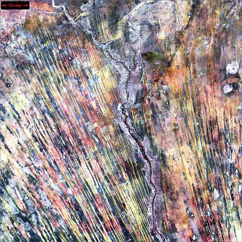 Пустыни Калахари - Намибия спутниковой фотографии