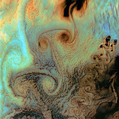 Фон Карман вихря - Тихий океан спутниковое фото