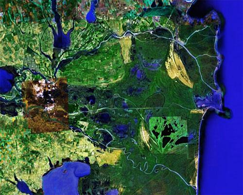 Дунайская дельта - Румыния спутниковое фото
