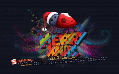 Snowy Ladybug 45 in Desktop Wallpaper Calendar: December 2010