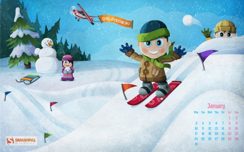 Winter Fun 11 in Desktop Wallpaper Calendar: January 2011