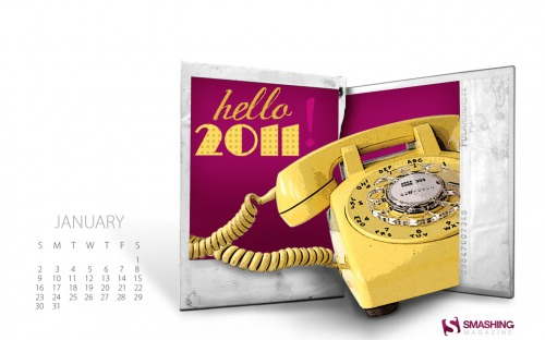 Hello 2011 61 in Desktop Wallpaper Calendar: January 2011