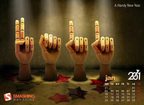 A Handy Year 13 in Desktop Wallpaper Calendar: January 2011