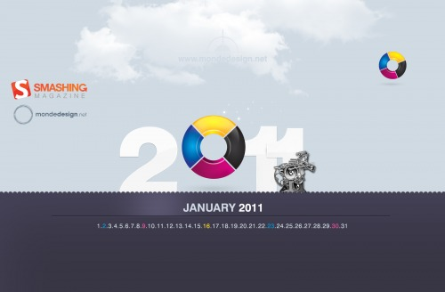Cmyk 2011 85 in Desktop Wallpaper Calendar: January 2011