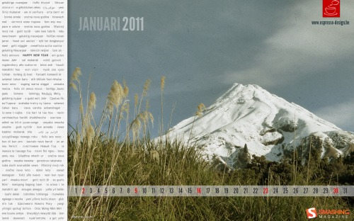 Global Greetings 78 in Desktop Wallpaper Calendar: January 2011