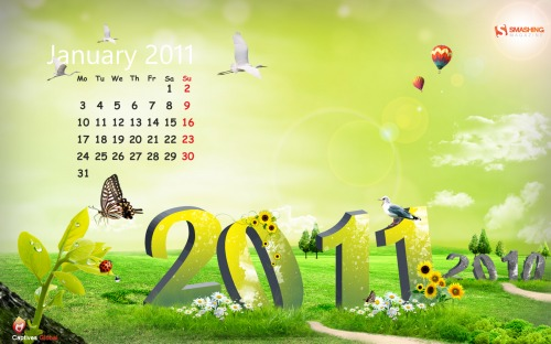 New 76 in Desktop Wallpaper Calendar: January 2011