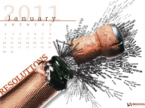 Resolution Bottle 3 in Desktop Wallpaper Calendar: January 2011