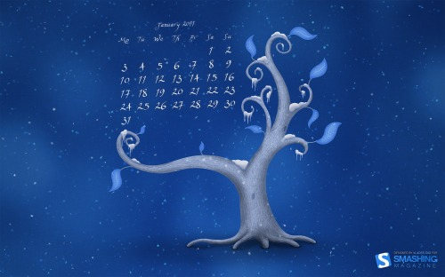 Icy Tree Smashing 8 in Desktop Wallpaper Calendar: January 2011
